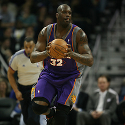 Shaquille O'Neal of the Phoenix Suns on February 26, 2008 at the New Orleans Arena in New Orleans, Louisiana. The New Orleans Hornets defeated the Phoenix Suns 120-103.