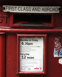 © Licensed to London News Pictures. 15/10/2013<br /> Royal mail Post Box  Crosswall,City Of London 13/10/2013.<br /> Royal Mail share price rise.<br /> Royal Mail shares soar to £4.50: Price is now 50% higher than at sell-off renewing claims it was undervalued.<br /> Photo credit :Grant Falvey/LNP