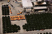 Aerial photograph of truck trailers full of just-harvested oranges and grapefruits ready to be made into juice at this Lindsay, California citrus juice factory. San Joaquin Valley. The factory is surrounded by orange trees..