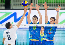 Danijel Galic of Croatia vs Mitja Gasparini #6 of Slovenia and Matevz Kamnik #7 of Slovenia during volleyball match between National Teams of Slovenia and Croatia in 2nd leg of Eurovolley 2013 Qualifications on June 8, 2013 in Arena Stozice, Ljubljana, Slovenia. Slovenia defeated Croatia 3-0 and qualified to Euro 2013. (Photo By Vid Ponikvar / Sportida)