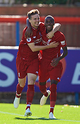 LONDON, ENGLAND - Saturday, September 29, 2018: Liverpool's Rafael Camacho (right) celebrates scoring the first goal with team-mate Liam Millar during the Under-23 FA Premier League 2 Division 1 match between Chelsea FC and Liverpool FC at The Recreation Ground. (Pic by David Rawcliffe/Propaganda)