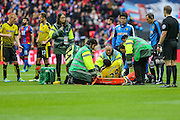 Watford's Etienne Capoue is stretcherd off during the The FA Cup match between Crystal Palace and Watford at Wembley Stadium, London, England on 24 April 2016. Photo by Shane Healey.