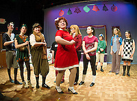 "Annie(Sharleigh Thomson), Oliver (Zoe Cygan), Peter Pan (Keri Leigh McCollum), Patrick Dennis (Rudy Beer) parade by Michelle (Jaydie Halperin), Mom (Diane Nickerson) and Emily (Alana Persson) with JoJo (Charles Purcell), Horton (Tori Webster) and Tracy Turnblad (Megan Reid) looking on during dress rehearsal for ""A Very Broadway Christmas"" at Winnipesaukee Playhouse Wednesday evening.  (Karen Bobotas/for the Laconia Daily Sun)"