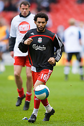 LIVERPOOL, ENGLAND - Saturday, March 8, 2008: Liverpool's Jermaine Pennant warms up before the Premiership match against Newcastle United at Anfield. (Photo by David Rawcliffe/Propaganda)