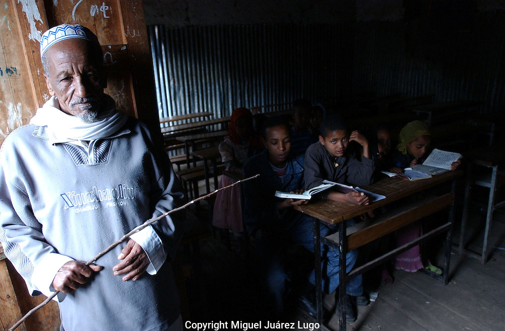 Dessie, Ethiopia: One of several madrassas in this northern Ethiopia town, the Showber Islamic School is still hobbling along more than 80 years after it first opened. Students still learn with the aid of a whip, and read their Korans by the afternoon sunlight. (PHOTO: MIGUEL JUAREZ LUGO)
