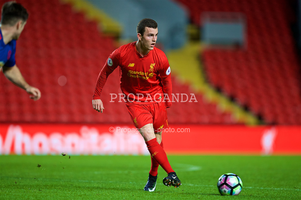 LIVERPOOL, ENGLAND - Monday, January 16, 2017: Liverpool's Brooks Lennon in action against Manchester United during the FA Premier League 2 Division 1 Under-23 match at Anfield. (Pic by David Rawcliffe/Propaganda)