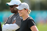United States women's national soccer team former coach Jill Ellis watches the Miami Dolphins practice during Minicamp at the Baptist Health Training Facility at Nova Southeastern University, Tuesday, August 6, 2019, in Davie, Fla. (Kim Hukari/Image of Sport)