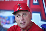 ANAHEIM, CA - APRIL 15:  Manager Mike Scioscia #14 of the Los Angeles Angels of Anaheim talks to the media in the dugout before the game against the Oakland Athletics at Angel Stadium on Tuesday, April 15, 2014 in Anaheim, California. The Athletics won the game 10-9 in eleven innings. (Photo by Paul Spinelli/MLB Photos via Getty Images) *** Local Caption *** Mike Scioscia