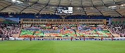 31.01.2015, Mercedes Benz Arena, Stuttgart, GER, 1. FBL, VfB Stuttgart vs Borussia Moenchengladbach, 18. Runde, im Bild Choreo Choreographie Fanaktion vor dem Spiel Impressionen Stuttgarter Sehenswuerdigkeiten in der Cannstatter Kurve, Text Niemals 2. Liga // during the German Bundesliga 18th round match between VfB Stuttgart and Borussia Moenchengladbach at the Mercedes Benz Arena in Stuttgart, Germany on 2015/01/31. EXPA Pictures © 2015, PhotoCredit: EXPA/ Eibner-Pressefoto/ Weber<br /> <br /> *****ATTENTION - OUT of GER*****