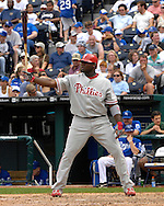 June 10, 2007 - Kansas City, MO..Philadelphia Phillies first basemen Ryan Howard gets ready to bat against the Kansas City Royals at Kauffman Stadium in Kansas City, Missouri on June 10, 2007...MLB:  The Royals defeated the Phillies 17-5.  Photo by Peter G. Aiken/Cal Sport Media
