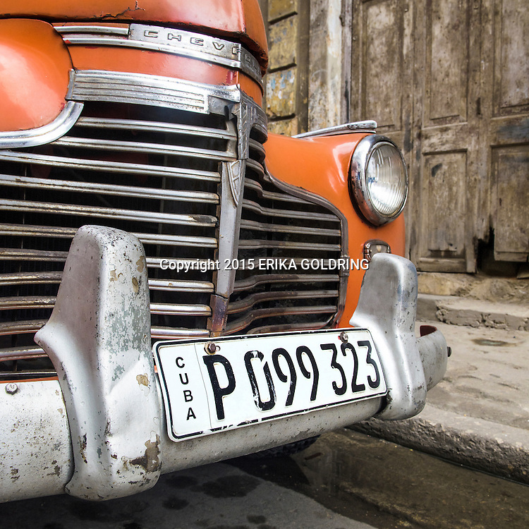 Chevrolet detail on December 20, 2015, in Havana, Cuba.
