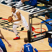 03 February 2018: The San Diego State Aztecs look to rebound after a couple losses against Air Force Saturday night. |San Diego State Aztecs forward Matt Mitchell (11) looks to pass the ball into the key during a game against the Air Force Falcons. The Aztecs beat the Falcons 81-50 at Viejas Arena.<br /> More game action at www.sdsuaztecphotos.com