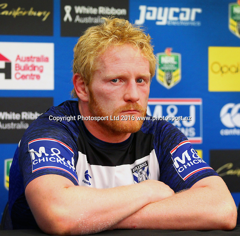 Bulldogs' James Graham fronts the media in the post match press conference during the Round 7 NRL match, Canterbury-Bankstown Bulldogs v Vodafone Warriors at Westpac Stadium, Wellington. 16th April 2016. Copyright Photo.: Grant Down / www.photosport.nz
