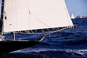 Kate saling in the Old Road Race at the 2011 Antigua Classic Yacht Regatta.