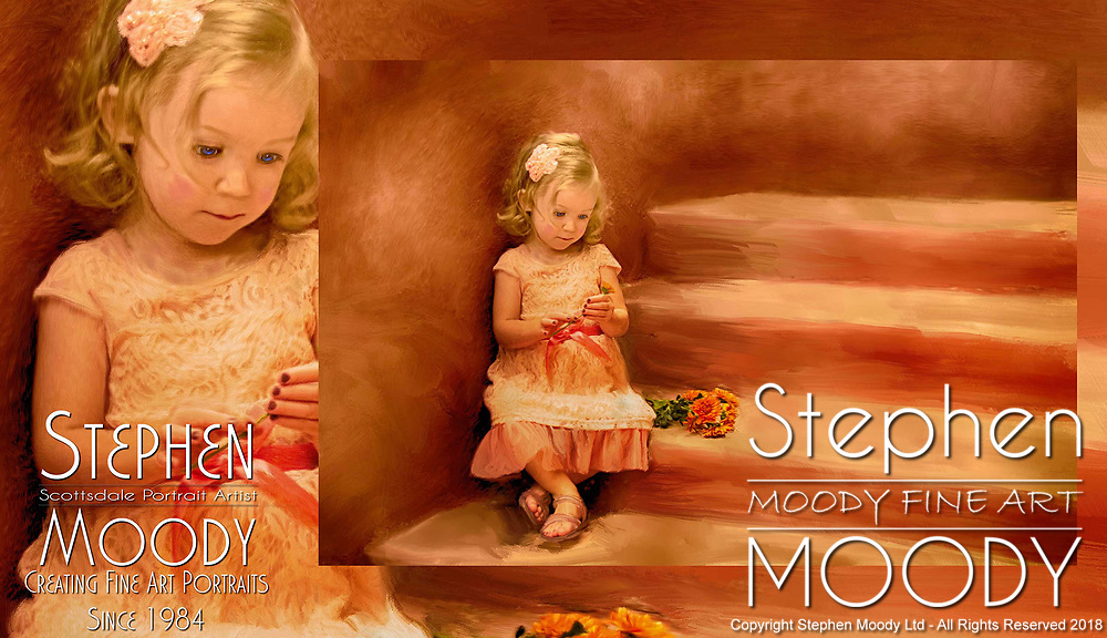 Childrens Fine Art Portraits by Scottsdale Portrait Artist Stephen Moody - Commissioned Mixed Media Portraiture of children