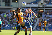 Hull City striker Abel Hernandez battles with Brighton defender, Uwe Huenemeier during the Sky Bet Championship match between Brighton and Hove Albion and Hull City at the American Express Community Stadium, Brighton and Hove, England on 12 September 2015. Photo by Phil Duncan.