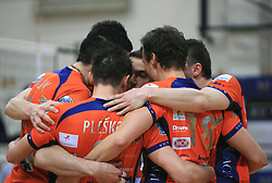 Team ACH celebrate at last final volleyball match of 1.DOL Radenska Classic between OK ACH Volley and Salonit Anhovo, on April 21, 2009, in Arena SGS Radovljica, Slovenia. ACH Volley won the match 3:0 and became Slovenian Champion. (Photo by Vid Ponikvar / Sportida)