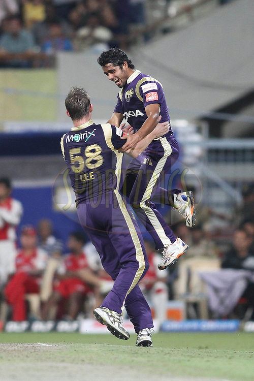 Iqbal Abdulla of the Kolkata Knight Riders celebrates with Brett Lee of the Kolkata Knight Ridersafter picking up Captain Adam Gilchrist of the Kings XI Punjab wicket during match 37 of the Indian Premier League ( IPL ) between the Kolkata Knight Riders and the Royal Kings XI Punjab held at Eden Gardens Cricket Stadium in Kolkata, India on the 30th April 2011..Photo by Shaun Roy/BCCI/SPORTZPICS
