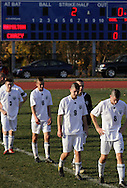 Middletown, New York  - Chazy soccer players line up to shake hands after losing to Hamilton 1-0 in the New York State Class D boys' soccer championship game on Nov. 20, 2011.