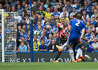Football - 2014 / 2015 Premier League - Chelsea vs. Sunderland.   <br /> <br /> Chelsea's Branislav Ivanovic drives a shot at the Sunderland goal<br /> <br /> COLORSPORT/DANIEL BEARHAM