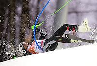 Alpine Skiing: 2014 Winter Olympics: Hubertus Von Hohenlohe of Mexico crashes during the Men's Slalom at Rosa Khutor Alpine Center. Krasnaya Polyana, Russia 2/22/2014 CREDIT: Jed Jacobsohn (Photo by Jed Jacobsohn /Sports Illustrated)