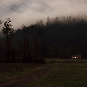 House in Field on a cloudy night. Nicholas County, West Virginia.