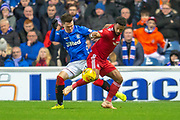 Glenn Middleton (#40) of Rangers FC tussles with Shay Logan (#2) of Aberdeen FC during the Ladbrokes Scottish Premiership match between Rangers and Aberdeen at Ibrox, Glasgow, Scotland on 5 December 2018.
