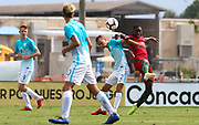 Slovenia defender Jernej Belinc (2) and Portugal forward Dario Essugo (13) go up for a header during a CONCACAF boys under-15 championship soccer game, Sunday, August 11, 2019, in Bradenton, Fla. Portugal defeated Slovenia in the final in 2-0. (Kim Hukari/Image of Sport)