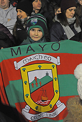 Young Mayo fan Mikey Kilbane from Dooagh Achill celebrating his 7th birthday at the Mayo v Dublin league match at McHale park.<br /> Pic Conor McKeown