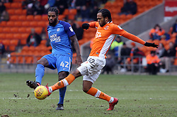 Anthony Grant of Peterborough United in action with Nathan Delfouneso of Blackpool - Mandatory by-line: Joe Dent/JMP - 18/02/2018 - FOOTBALL - Bloomfield Road - Blackpool, England - Blackpool v Peterborough United - Sky Bet League One