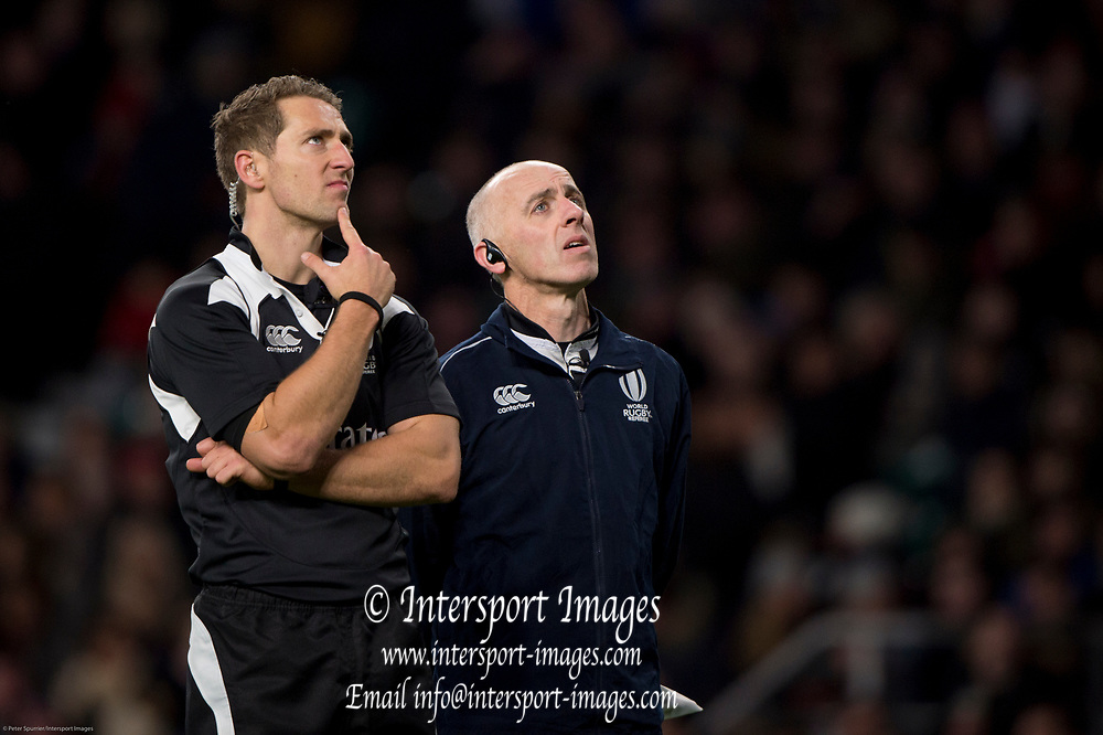 Twickenham, Surrey. UK. {L} Referee Andrew BRACE and Assistant Referee 2 Wayne DAVIS, watch the TMO replay of Chris VUI's touch down,  during the England vs Samoa, Autumn International. Old Mutual Wealth Series. RFU Stadium, Twickenham. Surrey, England.<br /> <br /> Saturday  25.11.17  <br /> <br /> [Mandatory Credit Peter SPURRIER/Intersport Images]