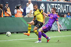 July 22, 2018 - Charlotte, North Carolina, USA - Borussia Dortmund defender Jeremy Toljan (15) and Liverpool defender Andrew Robertson (26) during an International Champions Cup match at Bank of America Stadium in Charlotte, NC.  Borussia Dortmund of the German Bundesliga beat Liverpool of the English Premier League 3 to 1. (Credit Image: © Jason Walle via ZUMA Wire)