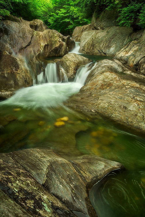 Warren Falls in summer, Vermont, USA