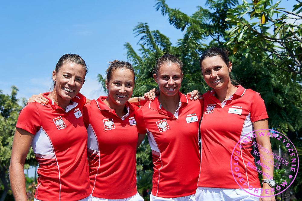 KAILUA KONA, USA - 2016 FEBRUARY 03: (L-R) Alicja Rosolska and Paula Kania and Magda Linette and Klaudia Jans-Ignacik all from Poland pose to the picture on three days before the Fed Cup / World Group II 1st round tennis match between USA and Poland on February 03, 2016 at Holua Tennis Center in Kailua Kona, USA.<br /> <br /> Picture also available in RAW (NEF) or TIFF format on special request.<br /> <br /> Any editorial, commercial or promotional use requires written permission from the author of image.<br /> <br /> Adam Nurkiewicz declares that he has no rights to the image of people at the photographs of his authorship.<br /> <br /> Mandatory credit:<br /> Photo by &copy; Adam Nurkiewicz / Mediasport