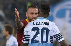 March 2, 2019 - Rome, Lazio, Italy - Felipe Caicedo of SS LAzio argue with Daniele De Rossi of AS Roma during the Italian Serie A football match between S.S. Lazio and A.S Roma at the Olympic Stadium in Rome, on march 02, 2019. (Credit Image: © Silvia Lore/NurPhoto via ZUMA Press)