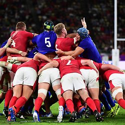 Sebastien VAHAAMAHINA of France (5) receives a red card for an elbow on Aaron WAINWRIGHT of Wales (6) during the Rugby World Cup 2019 Quarter Final match between Wales and France on October 20, 2019 in Oita, Japan. (Photo by Dave Winter/Icon Sport) - Oita Stadium - Oita (Japon)