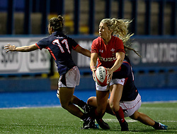 Sioned Harries of Wales Women under pressure from CHONG Ka-yan of Hong Kong<br /> <br /> Photographer Simon King/Replay Images<br /> <br /> Friendly - Wales Women v Hong Kong Women - Friday  16th November 2018 - Cardiff Arms Park - Cardiff<br /> <br /> World Copyright © Replay Images . All rights reserved. info@replayimages.co.uk - http://replayimages.co.uk