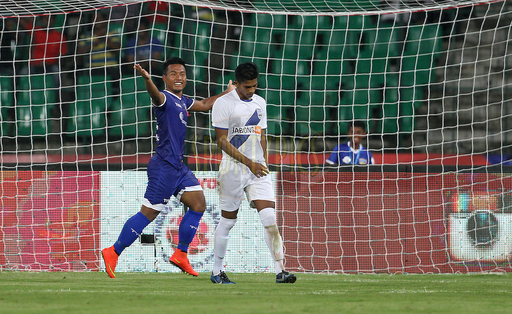 Jeje Lalpekhlua of Chennaiyin FC celebrates a goal during match 15 of the Hero Indian Super League between Chennaiyin FC and Mumbai City FC held at the Jawaharlal Nehru Stadium, Chennai, India on the 28th October 2014.<br /> <br /> Photo by:  Vipin Pawar/ ISL/ SPORTZPICS