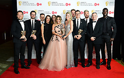 Caroline Flack with the reality and constructed factual award on behalf of Love Island with crew and participants in the press room at the Virgin TV British Academy Television Awards 2018 held at the Royal Festival Hall, Southbank Centre, London.
