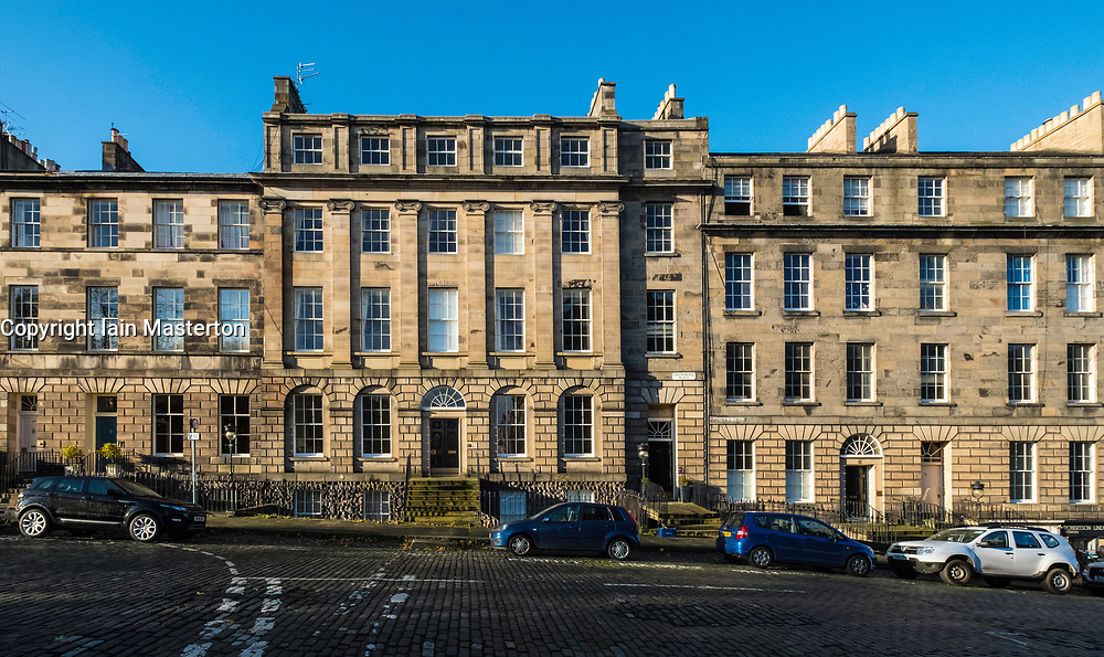 Row of Georgian terraced townhouses  in Edinburgh New Town,  Scotland, United Kingdom.
