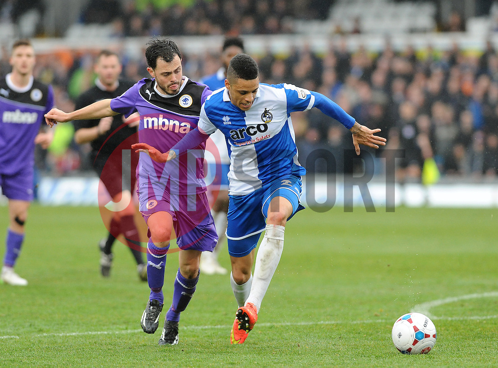 Bristol Rovers' Daniel Leadbitter is challenged by Chester's Craig Mahon - Photo mandatory by-line: Neil Brookman/JMP - Mobile: 07966 386802 - 03/04/2015 - SPORT - Football - Bristol - Memorial Stadium - Bristol Rovers v Chester - Vanarama Football Conference