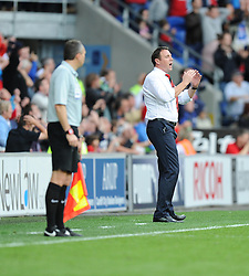 dejection Cardiff City Manager, Malky Mackay after his team come close to making it 2-2 - Photo mandatory by-line: Alex James/JMP - Tel: Mobile: 07966 386802 05/10/2013 - SPORT - FOOTBALL - Cardiff City Stadium - Cardiff - Cardiff City V Newcastle United - Premiership