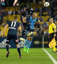 October 7, 2017 - Melbourne, Victoria, Australia - Adrian Mierzejewski (#11) of Sydney FC and Thomas Deng (#14) of Melbourne Victory in action during the round 1 match between Melbourne Victory and Sydney FC at Etihad Stadium in Melbourne, Australia during the 2017/2018 Australian A-League season. (Credit Image: © Theo Karanikos via ZUMA Wire)