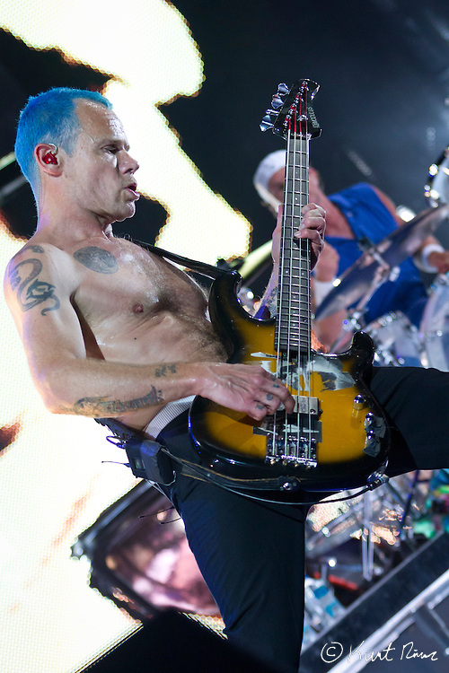 March 31, 2012 - Orlando, Florida, U.S. - The Red Hot Chili Peppers bass player FLEA performs at the Amway Center in Orlando, Florida.