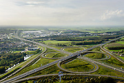 Nederland, Friesland, Gemeente Heerenveen, 10-10-2014;  knooppunt Heerenveen, klaverblad. Kruising A32 en A7. <br /> Junction Heerenveen (Friesland, Northern Netherlands, cloverleaf).<br /> luchtfoto (toeslag op standard tarieven);<br /> aerial photo (additional fee required);<br /> copyright foto/photo Siebe Swart