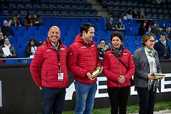 HILBERATH Jonny (Co-Bundestrainer Dressur), HEINZE Sebastian (Bundestrainer Dressur U25), THEODORESCU Monica (Bundestrainer Dressur), EISENHARD Evi (Dressurrichter)<br /> Stuttgart - German Masters 2018<br /> Siegerehrung<br /> Grand Prix de Dressage<br /> Piff Förderpreis Finalprüfung<br /> 16. November 2018<br /> © www.sportfotos-lafrentz.de/Stefan Lafrentz