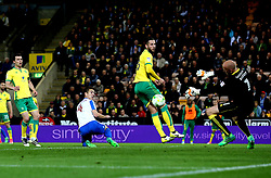 Uwe Hunemeier of Brighton & Hove Albion sees his header saved by John Ruddy of Norwich City - Mandatory by-line: Robbie Stephenson/JMP - 21/04/2017 - FOOTBALL - Carrow Road - Norwich, England - Norwich City v Brighton and Hove Albion - Sky Bet Championship