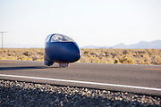 De Bluenose op de zesde racedag van de WHPSC. In de buurt van Battle Mountain, Nevada, strijden van 10 tot en met 15 september 2012 verschillende teams om het wereldrecord fietsen tijdens de World Human Powered Speed Challenge. Het huidige record is 133 km/h.<br />