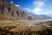 Village at foot of Karokoram Mountains, Skardu Valley, North Pakistan