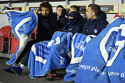 February 14, 2019 - Prague, CZECH REPUBLIC - Genk's Neto Borges, Genk's Alejandro Pozuelo and Genk's Marcus Ingvartsen pictured before the start of a soccer game between Czech club SK Slavia Praha and Belgian team KRC Genk, the first leg of the 1/16 finals (round of 32) in the Europa League competition, Thursday 14 February 2019 in Prague, Czech Republic. BELGA PHOTO YORICK JANSENS (Credit Image: © Yorick Jansens/Belga via ZUMA Press)